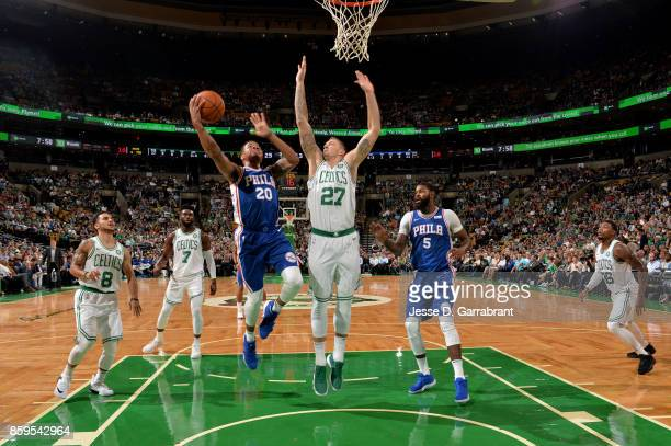 Markelle Fultz of the Philadelphia 76ers goes to the basket against the Boston Celtics during a preseason game on October 9 2017 at TD Garden in...