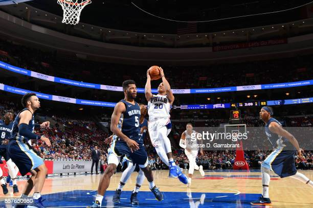 Markelle Fultz of the Philadelphia 76ers goes to the basket during the game against the Memphis Grizzlies during a preseason game on October 4 2017...