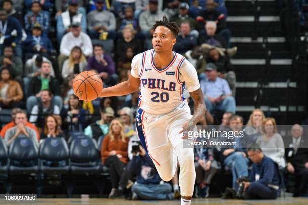Markelle Fultz of the Philadelphia 76ers handles the ball against the Memphis Grizzlies on November 10 2018 at FedExForum in Memphis Tennessee NOTE...