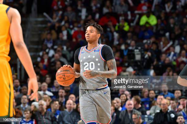 Markelle Fultz of the Philadelphia 76ers handles the ball against the Utah Jazz on November 16 2018 at Wells Fargo Center in Philadelphia...