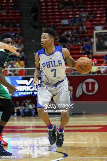 Markelle Fultz of the Philadelphia 76ers handles the ball against the Boston Celtics on July 3 2017 at Jon M Huntsman Center in Salt Lake City Utah...