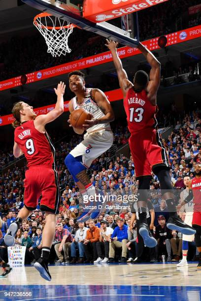 Markelle Fultz of the Philadelphia 76ers handles the ball against the Miami Heat in Game Two of Round One of the 2018 NBA Playoffs on April 16 2018...