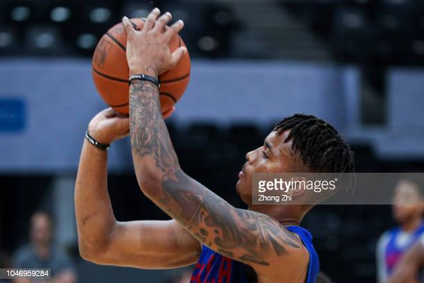 Markelle Fultz of the Philadelphia 76ers in action during the practice as part of the 2018 NBA China Games between the Dallas Mavericks and the...
