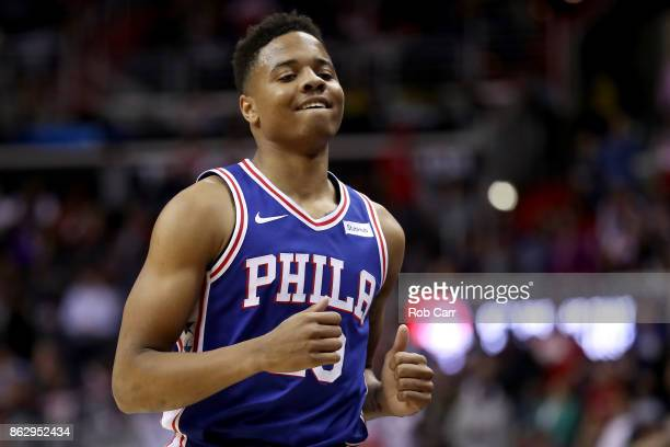 Markelle Fultz of the Philadelphia 76ers jogs off the court against the Washington Wizards at Capital One Arena on October 18 2017 in Washington DC...
