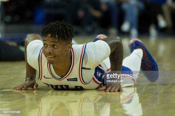 Markelle Fultz of the Philadelphia 76ers looks on against Melbourne United in the preseason game at Wells Fargo Center on September 28 2018 in...