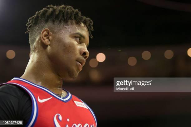 Markelle Fultz of the Philadelphia 76ers looks on against the LA Clippers at the Wells Fargo Center on November 1 2018 in Philadelphia Pennsylvania...