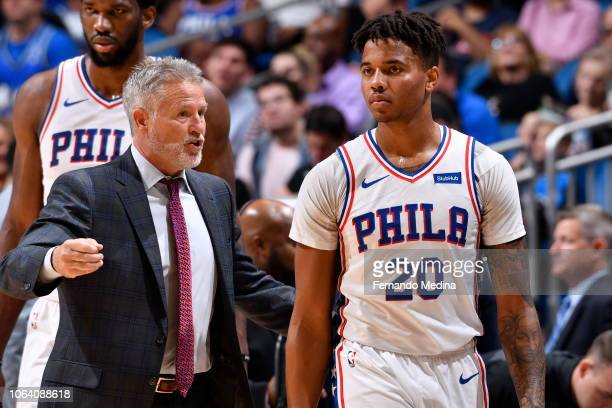 Markelle Fultz of the Philadelphia 76ers looks on against the Orlando Magic on November 14 2018 at Amway Center in Orlando Florida NOTE TO USER User...