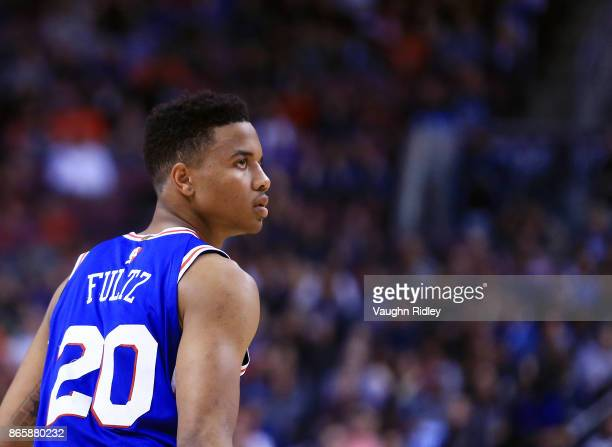 Markelle Fultz of the Philadelphia 76ers looks on during the first half of an NBA game against the Toronto Raptors at Air Canada Centre on October 21...
