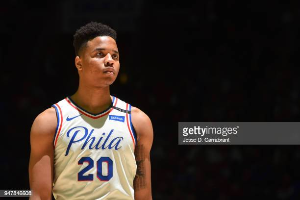 Markelle Fultz of the Philadelphia 76ers looks on during the game against the Miami Heat in Game Two of Round One of the 2018 NBA Playoffs on April...
