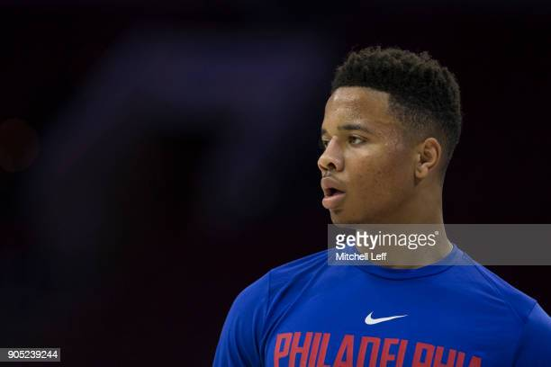 Markelle Fultz of the Philadelphia 76ers looks on prior to the game against the Toronto Raptors at the Wells Fargo Center on January 15 2018 in...