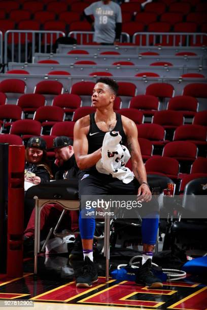 Markelle Fultz of the Philadelphia 76ers looks on prior to the game against the Cleveland Cavaliers on March 1 2018 at Quicken Loans Arena in...