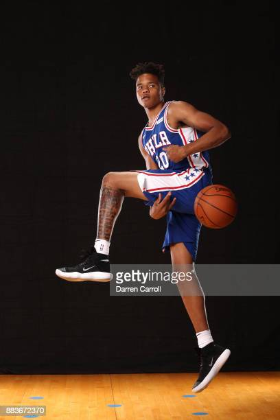 Markelle Fultz of the Philadelphia 76ers oses for a photo during the 2017 NBA Rookie Shoot on August 11 2017 at the Madison Square Garden Training...