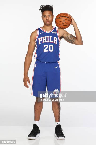 Markelle Fultz of the Philadelphia 76ers poses for a photo during the 2017 NBA Rookie Shoot on August 11 2017 at the Madison Square Garden Training...