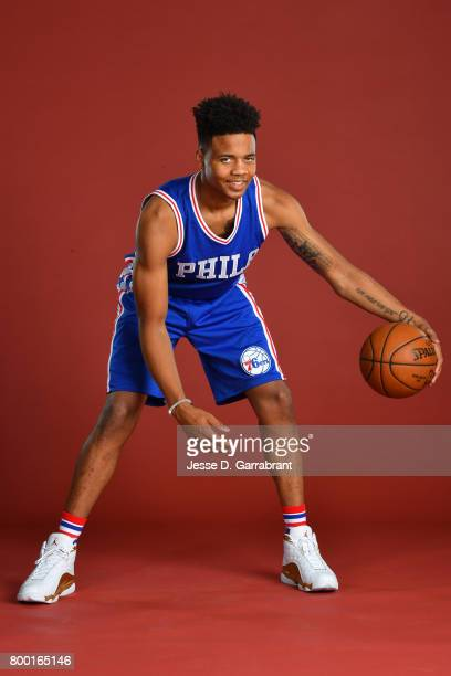 Markelle Fultz of the Philadelphia 76ers poses for a portrait at the post draft press conference on June 23 2017 at the Sixers Training Complex in...