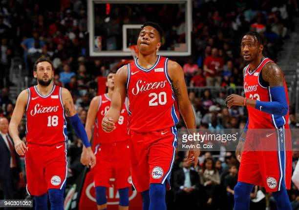 Markelle Fultz of the Philadelphia 76ers reacts after dunking against the Atlanta Hawks at Philips Arena on March 30 2018 in Atlanta Georgia NOTE TO...