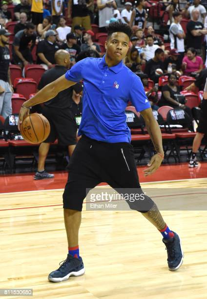 Markelle Fultz of the Philadelphia 76ers rebounds basketballs for his teammates as they warm up before a 2017 Summer League game against the San...