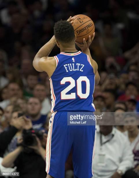 Markelle Fultz of the Philadelphia 76ers shoots a foul shot against the Boston Celtics at the Wells Fargo Center on October 20 2017 in Philadelphia...