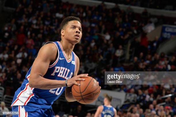 Markelle Fultz of the Philadelphia 76ers shoots a free throw against the New York Knicks on March 28 2018 at the Wells Fargo Center in Philadelphia...