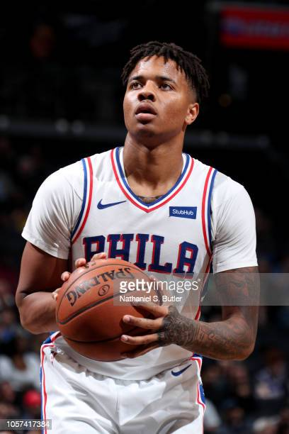 Markelle Fultz of the Philadelphia 76ers shoots a free throw during a game against the Brooklyn Nets on November 4 2018 at Barclays Center in...