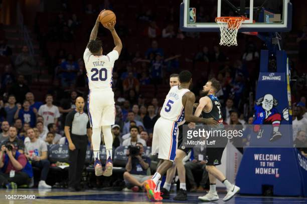 Markelle Fultz of the Philadelphia 76ers shoots the ball against Melbourne United in the third quarter of the preseason game at Wells Fargo Center on...