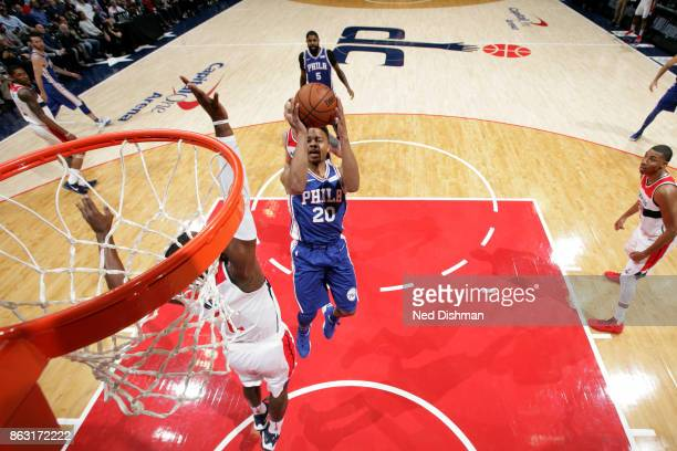 Markelle Fultz of the Philadelphia 76ers shoots the ball against the Washington Wizards on October 18 2017 at Capital One Arena in Washington DC NOTE...