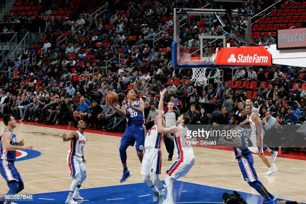 Markelle Fultz of the Philadelphia 76ers shoots the ball against the Detroit Pistons on October 23 2017 at Little Caesars Arena in Detroit Michigan...