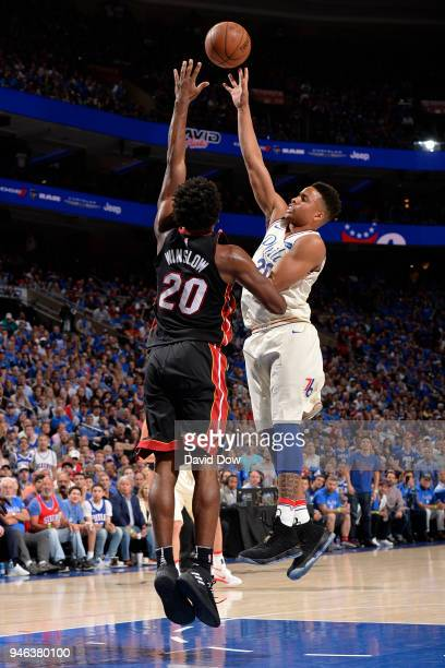 Markelle Fultz of the Philadelphia 76ers shoots the ball against the Miami Heat in game one of round one of the 2018 NBA Playoffs on April 14 2018 at...