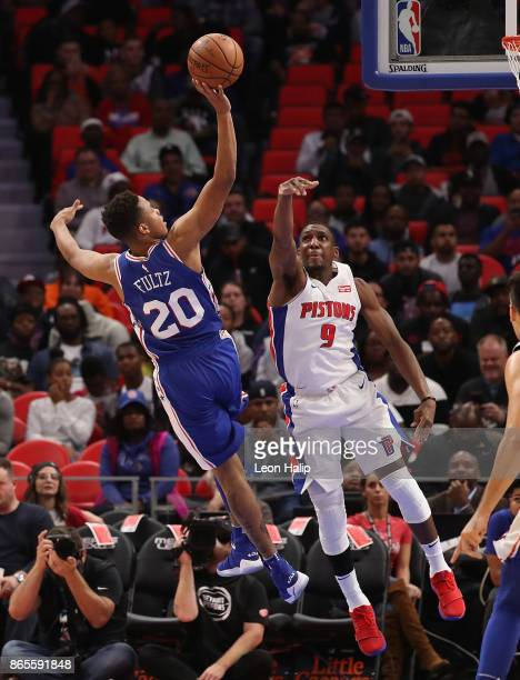 Markelle Fultz of the Philadelphia 76ers shoots the ball as Langston Galloway of the Detroit Pistons defends during the fourth quarter of the NBA...