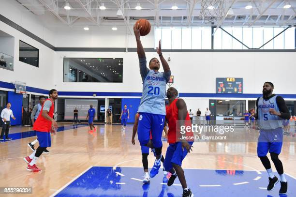 Markelle Fultz of the Philadelphia 76ers shoots the ball during practice on September 27 2017 at the Sixers Training Complex in Camden New Jersey...