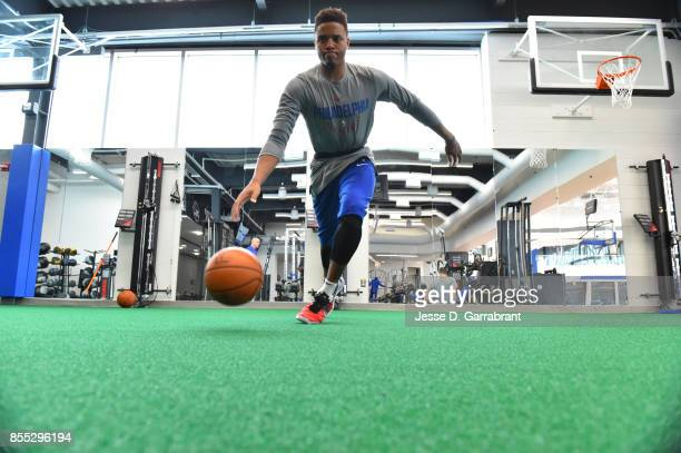 Markelle Fultz of the Philadelphia 76ers warms up before practice on September 27 2017 at the Sixers Training Complex in Camden New Jersey NOTE TO...