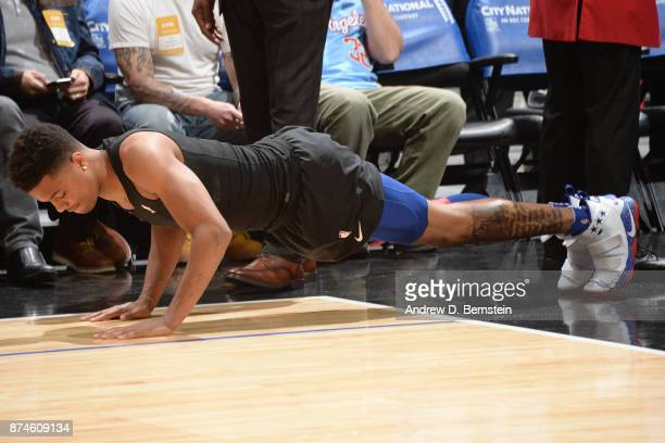 Markelle Fultz of the Philadelphia 76ers warms up before the game against the LA Clippers on November 13 2017 at STAPLES Center in Los Angeles...