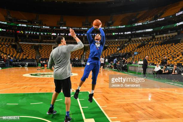 Markelle Fultz of the Philadelphia 76ers warms up before the game against the Boston Celtics during Game Two of the Eastern Conference Semifinals of...