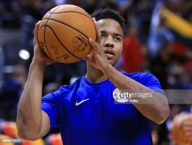 Markelle Fultz of the Philadelphia 76ers warms up prior to the first half of an NBA game against the Toronto Raptors at Air Canada Centre on October...