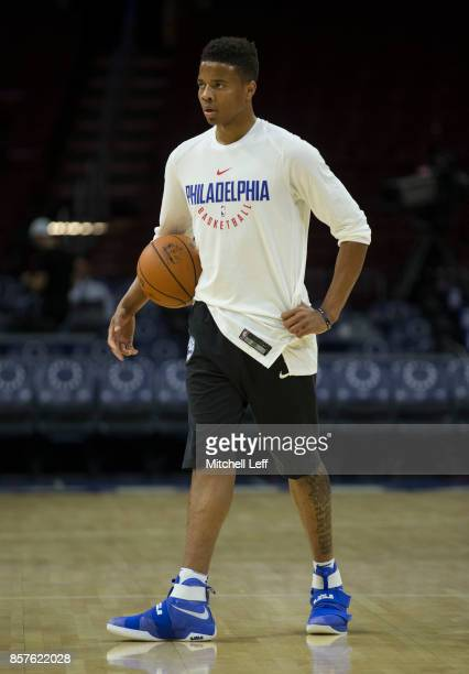Markelle Fultz of the Philadelphia 76ers warms up prior to the preseason game against the Memphis Grizzlies at the Wells Fargo Center on October 4...
