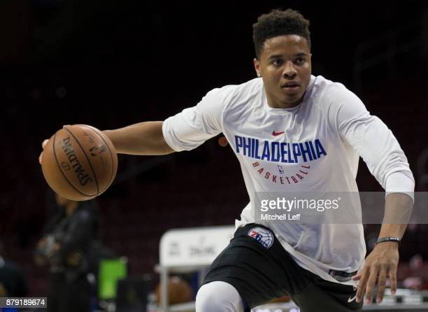 Markelle Fultz of the Philadelphia 76ers warms up prior to the game against the Orlando Magic at the Wells Fargo Center on November 25 2017 in...