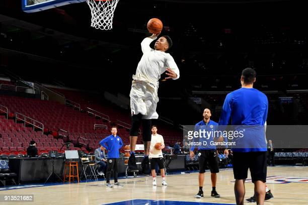 Markelle Fultz of the Philadelphia 76ers warms up prior to the game against the Miami Heat on February 2 2018 in Philadelphia Pennsylvania NOTE TO...