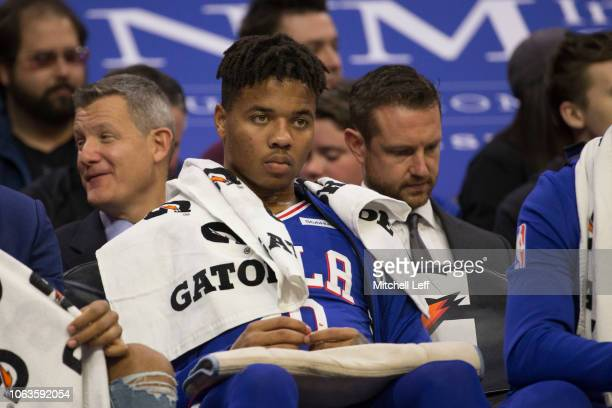 Markelle Fultz of the Philadelphia 76ers watches the game from the bench in the second quarter against the Phoenix Suns at the Wells Fargo Center on...