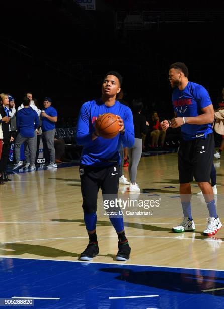 Markelle Fultz of the Philadelphia 76ers works on his shot prior to the game against the Toronto Raptors at Wells Fargo Center on January 15 2018 in...