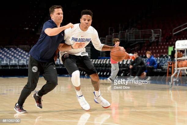 Markelle Fultz of the Philadelphia 76ers works out before the game against the Orlando Magic at Wells Fargo Center on November 25 2017 in...
