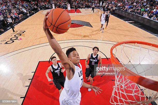 Markelle Fultz of the USA Junior Select Team dunks the ball against the World Select Team during the 2016 Nike Hoop Summit on April 9 2016 at the...