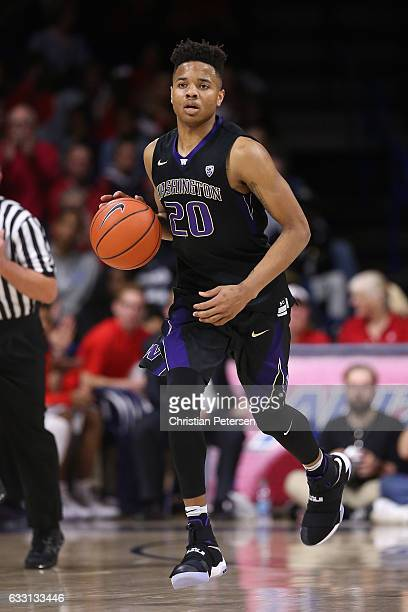 Markelle Fultz of the Washington Huskies handles the ball during the second half of the college basketball game against the Arizona Wildcats at...