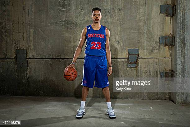 Markelle Fultz poses for a portrait during Adidas Nations Atlanta on May 1 2015 at the JW Marriott in Atlanta Georgia