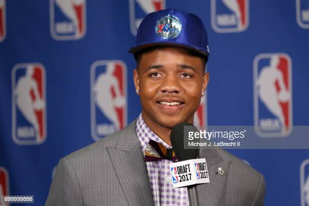 Markelle Fultz selected number one overall by the Philadelphia 76ers talks with the media at the 2017 NBA Draft on June 22 2017 at Barclays Center in...
