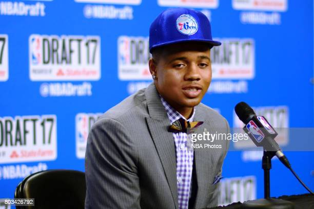 Markelle Fultz speaks with the media after being selected first overall by the Philadelphia 76ers at the 2017 NBA Draft on June 22 2017 at Barclays...