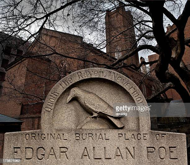 marker at edgar allen poe's original grave site - baltimore stock photos and pictures