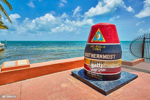 marker at the southernmost point,key west - key west stock pictures, royalty-free photos & images