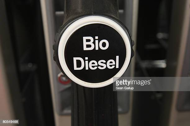 A marker on a pump shows the availability of biodiesel or ethanol at a gas station that sells gasoline as well as biofuels on April 7 2008 in Berlin...
