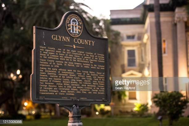 Marker stands in front of the historic Glynn County courthouse May 6, 2020 in Brunswick, Georgia. Authorities are facing scrutiny over a recently...