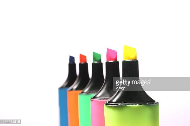 Markers Arranged in a row