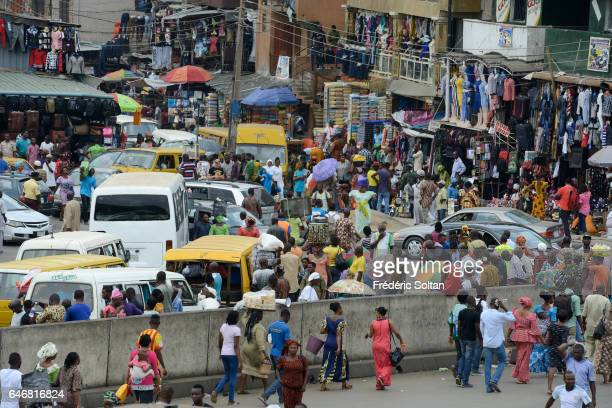 Market and traffic Jam in Oshodi area on March 16, 2016 in Lagos, Nigeria, West Africa.